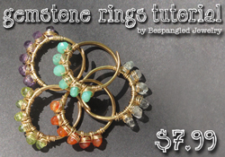gemstone wire wrapped rings tutorial
