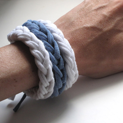 blue and white jersey knit bracelets