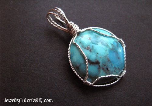 Wire wrapped stone cabochon setting tutorial video for How to make rock jewelry