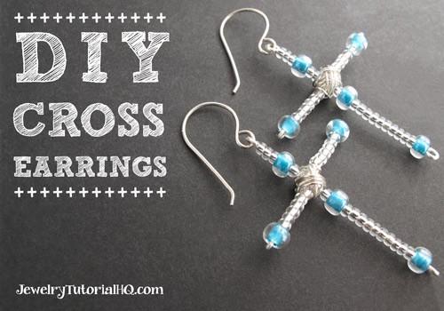 DIY Beaded Cross Earrings