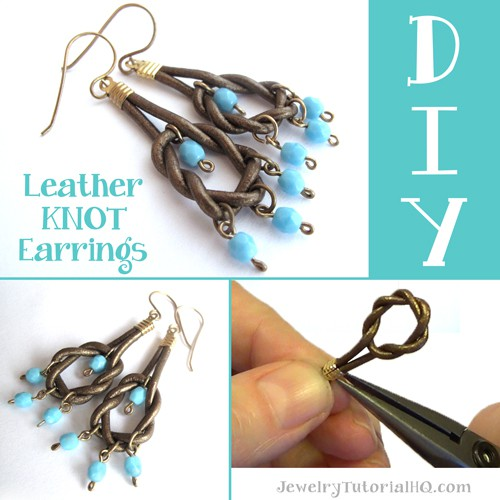 DIY Leather Knot Earrings / how to make leather earrings - free video tutorial from Jewelry Tutorial HQ